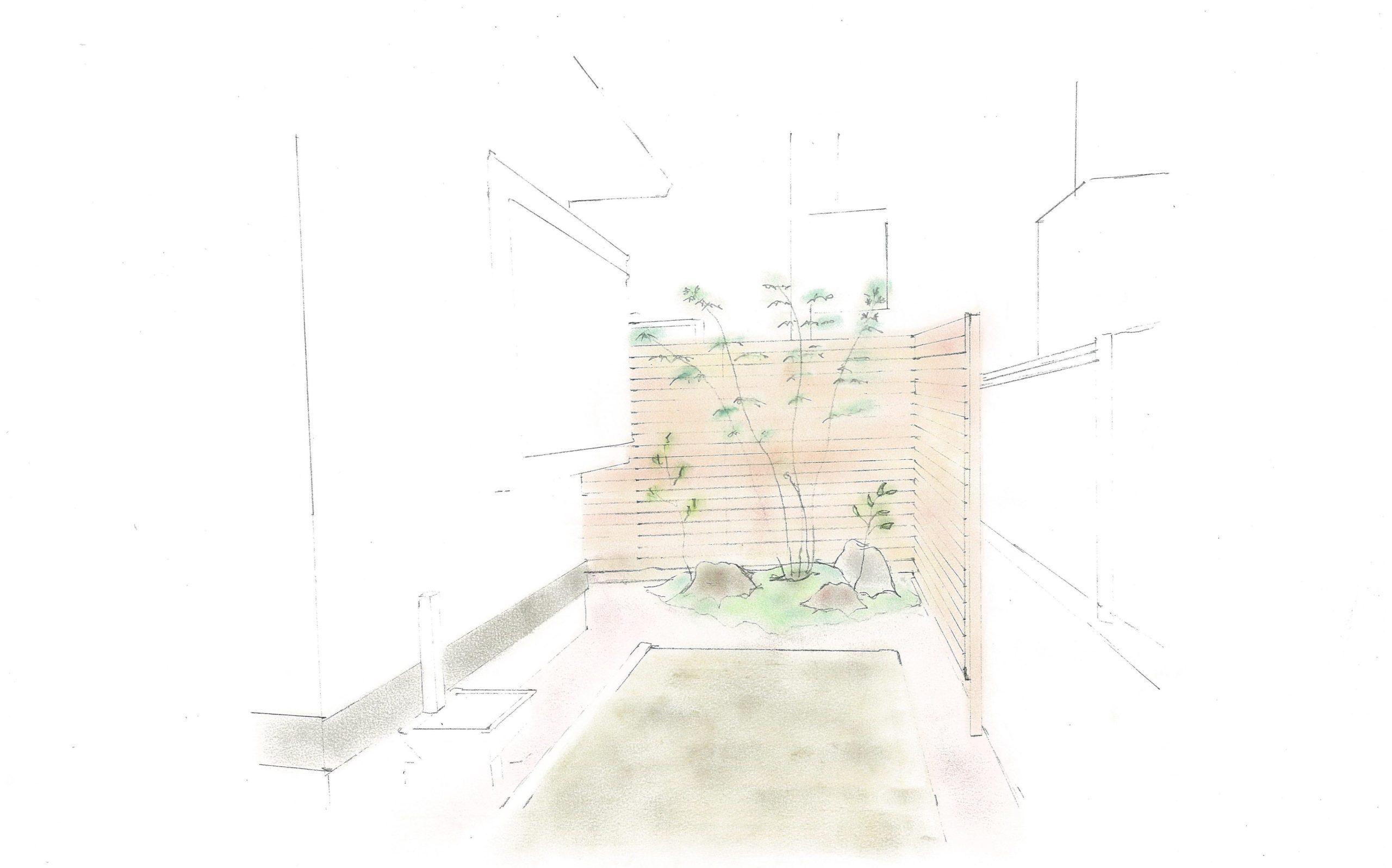 庭工事のイメージスケッチ